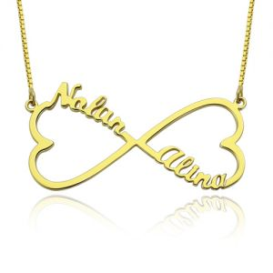 Personalized Infinity 2 Hearts & Names Necklace 18K Gold Plated