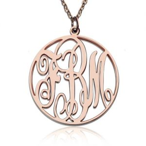 Rose Gold Plated Vine Font Circle Initial Monogram Necklace