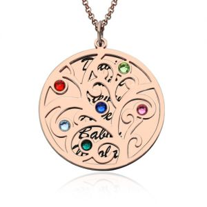 Refined 18K Rose Gold Plated Family Tree Birthstone Name Necklace