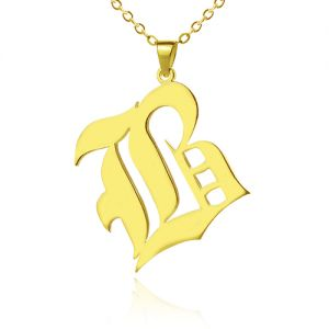 Custom Men's Initial Letter Charm Old English 18k Gold Plated