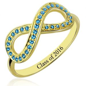 Infinity Ring With Birthstones Graduation Jewelry In Gold