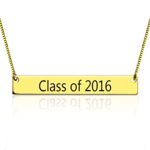 Engraved Graduation Bar Necklace Gold Plated Silver