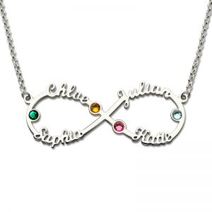 Personalized Infinity 4-Name Necklace With Birthstones Silver