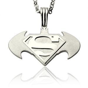 Personalized Batman Superman Dad's Necklace In Sterling Silver