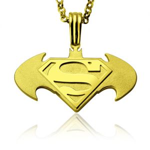 Batman Superman Necklace for Father In Gold