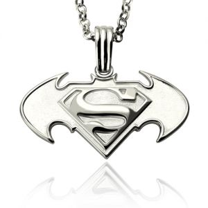 Personalized Dad Gifts: Batman vs Superman Logo Necklace