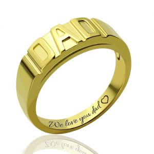 Personalized Men's DAD Ring Gold Plated Silver Engravable