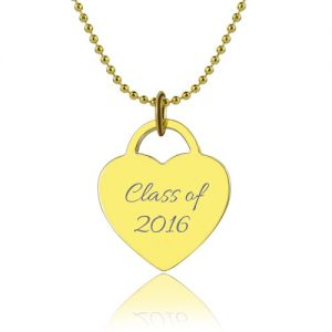 Engraved Name Heart Class Of…Graduate Necklace 18k Gold Plated