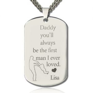 Titanium Steel Father's Love Dog Tag Name Necklace