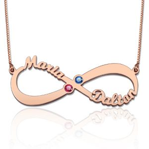 Personalized Infinity Name Birthstone Necklace In Rose Gold