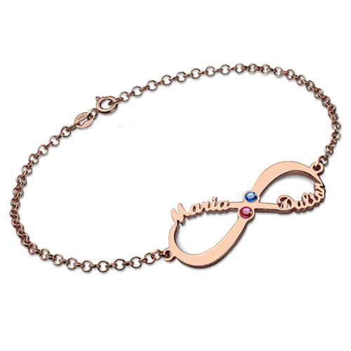 Pulseira com pedras zodiacais, 2 nomes e símbolo do infinito personalizado em ouro rosa