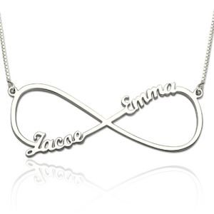 Infinity Necklace with Two Names Sterling Silver