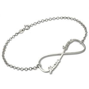 Peronalized Tattoo Infinity Bracelet In Sterling Silver