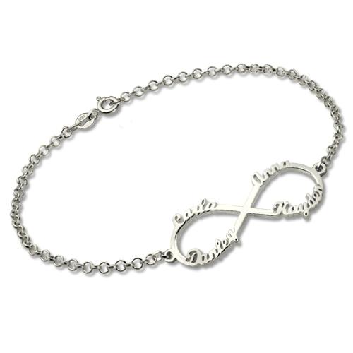 Bracelet Infini-4 Prénoms-Argent