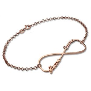 Creative Infinity Double Names Bracelet In Rose Gold