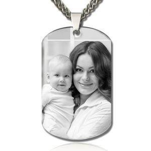 Personalized Father's Day Gift: Engraved Wife & Kid Photo Dog Tag