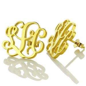 Monogram Stud Earrings 18K Gold Plated Silver