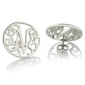 Personalized Circle Monogram Stud Earrings Sterling Silver