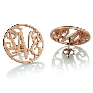 Personalized Circle Monogram Stud Earrings In Rose Gold