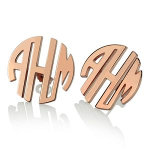 Custom Block Monogram Stud Earrings In Rose Gold