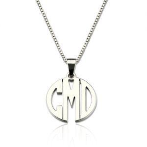 Custom XS Block Monogram Necklace In Sterling Silver