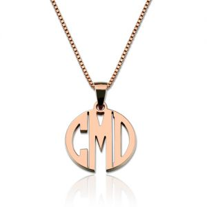 Custom XS Block Monogram Necklace In Rose Gold