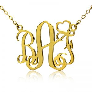 Personalized Initial Monogram Necklace Solid Gold With Heart