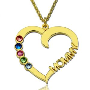Birthstone Heart Necklace with Name Gold Plated Silver