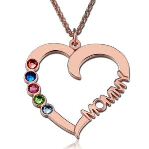 Birthstone Heart Necklace with Name In Rose Gold