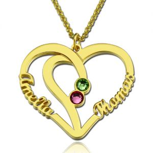 Heart Necklace with 2 Names & Birthstones Gold Plated Silver