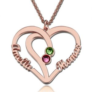 Heart Names Necklace with Two Birthstones In Rose Gold