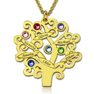 Engraved Family Tree Name Necklace with Birthstones In Gold