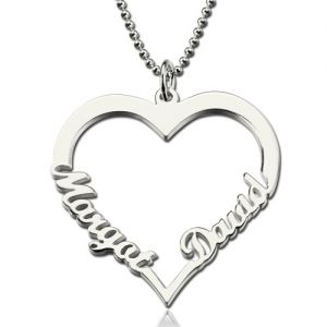 Personalized Heart Necklace With Double Names Sterling Silver
