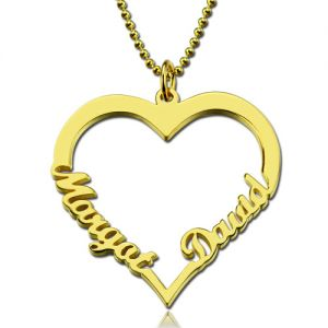 Personalized Heart Necklace With Double Names In Gold