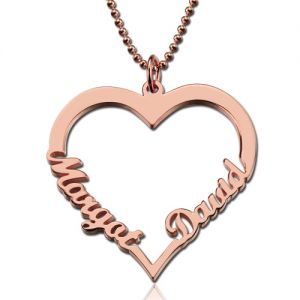 Personalized Heart Necklace With Double Names In Rose Gold