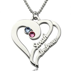 Two Heart Forever Name Necklace with Birthstone Sterling Silver