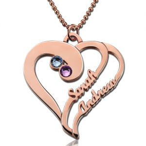 Two Heart Forever Name Necklace with Birthstone In Rose Gold