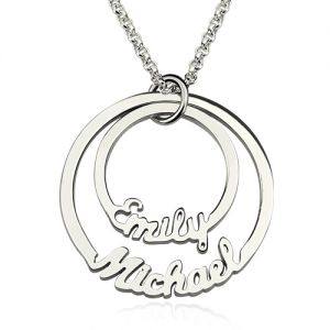 2 Disc Eternity Bands Name Necklace Sterling Silver