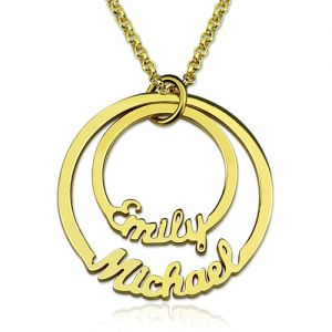 Two Names Disc Necklace Gold Plated Silver