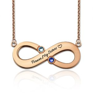 Engraved Infinity Necklace With Two Birthstones In Rose Gold