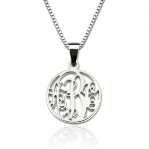 Box Chain XS Circle Monogram Necklace Sterling Silver