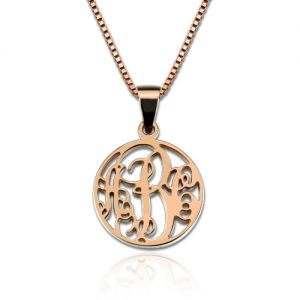 Personalized XS Circle Monogram Necklace In Rose Gold