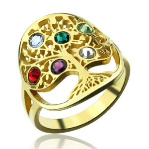 Family Tree Ring with Birthstones Gold Plated Silver