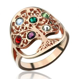 Family Tree Ring with Birthstones In Rose Gold