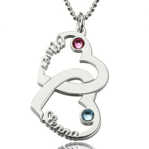 Heart in Heart Names Necklace with Birthstones Sterling Silver