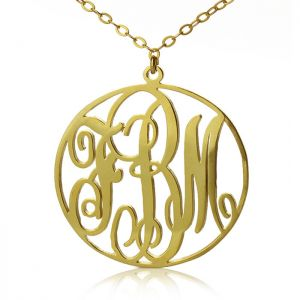 Solid Gold Vine Font Circle Initial Monogram Necklace - 10K/14K/18k