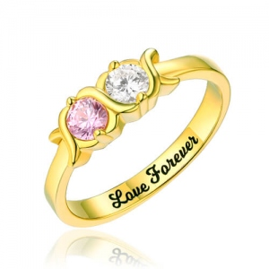 Engraved 2 Birthstones & Words XoXo Ring Gold Plated