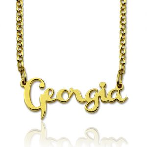 Personalized Cursive Style Name Necklace Gold Plated Silver