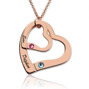 Engraved Double Hearts Necklace With Birthstones In Rose Gold