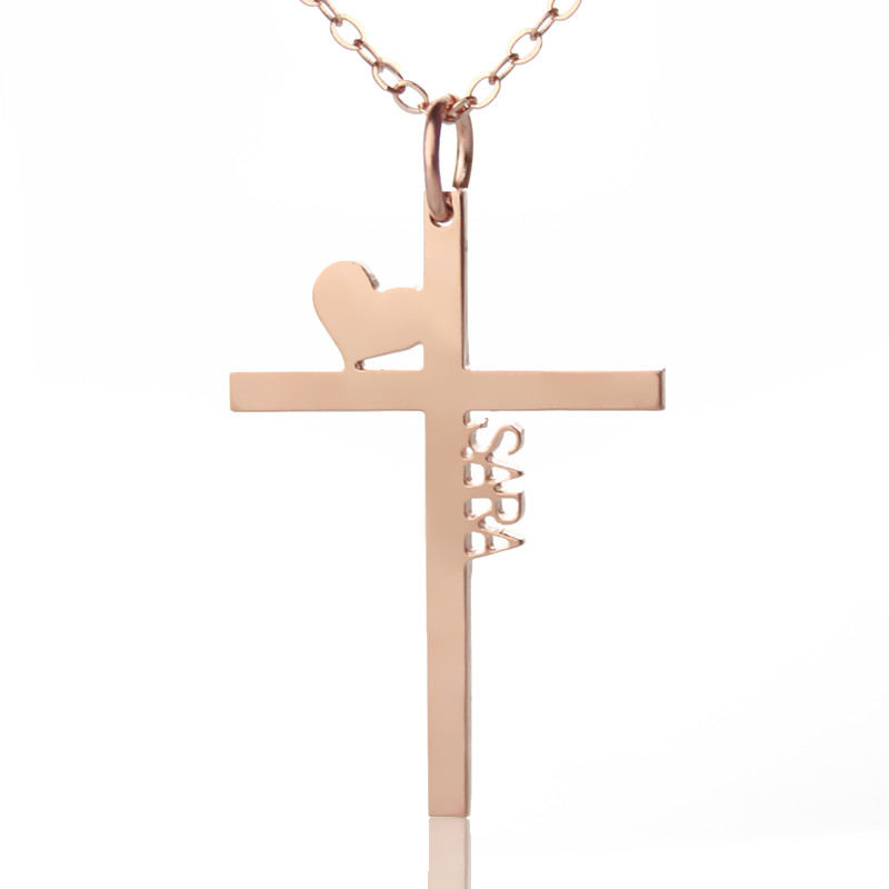 Personalized rose gold plated silver cross name necklace with heart aloadofball Images